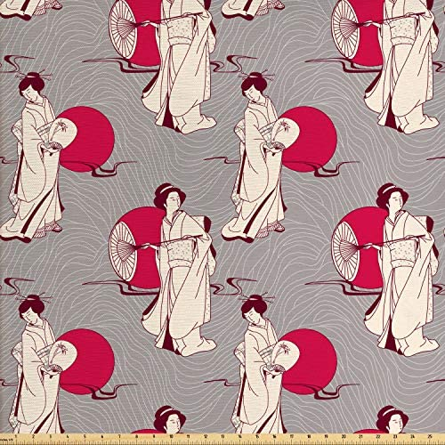 Lunarable Japanese Fabric by The Yard, Geisha with Paper Umbrella and Hand Fan on a Greyscale Background, Decorative Fabric for Upholstery and Home Accents, 3 Yards, Beige Grey