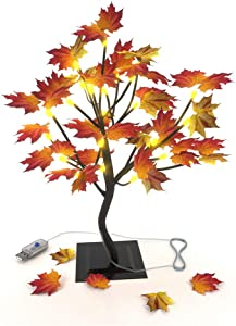 OKORAY Maple Tree Light Tabletop Seasonal Gift Decors Ornament 24 LED USB End Plug, Thanksgiving Decor Light Fall Tree and Autumn Artificial Tree for Indoor Home Fall Decoration…