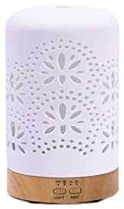 Diffusers for Essential Oils Ceramic Aromatherapy Diffuser in White, Cool Mist Humidifier for Home Office Bedroom — 4 Timers 100 ml Night Lights and Auto Off, BPA-Free(Floral)