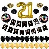 Partigos 21st Birthday Decorations Pack 12 Gold Number Balloon, Happy ...