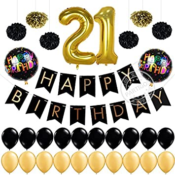 Girl Or Boy 21st Birthday Decorations Pack Gold Number 21 Balloon Happy Banner Flag