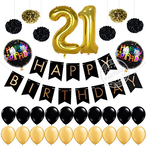 [Partigos 21st Birthday Decorations Pack 12 Gold Number Balloon, Happy Birthday Banner Flag Garland 18''mylar ballons Tissue Paper Flower Pom Poms for boy&Girl Birthday Party Supplies (Black)] (21st Birthday Decorations)