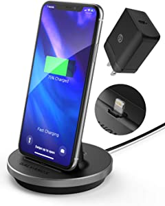 GALVANOX iPhone Charger Stand (MFi Certified) Fast Charging Lightning Desktop Holder Dock with Built-in USB C Cable and USB-C 18W Power Adapter for Apple iPhone 8/8 Plus/X/Xs Max/XR/11/12 Pro Max