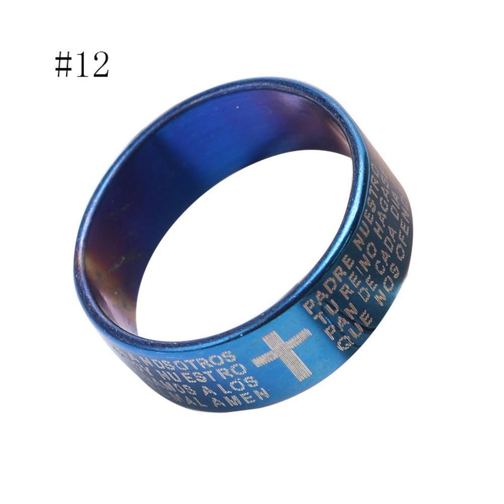 Black, 6-16mm gaeruite Bague pour Les Hommes et Les Femmes Queue Anneau Bleu Noir Argent Couple Bijoux Cadeau en Acier Inoxydable Script Croix Mod/èle Anneau