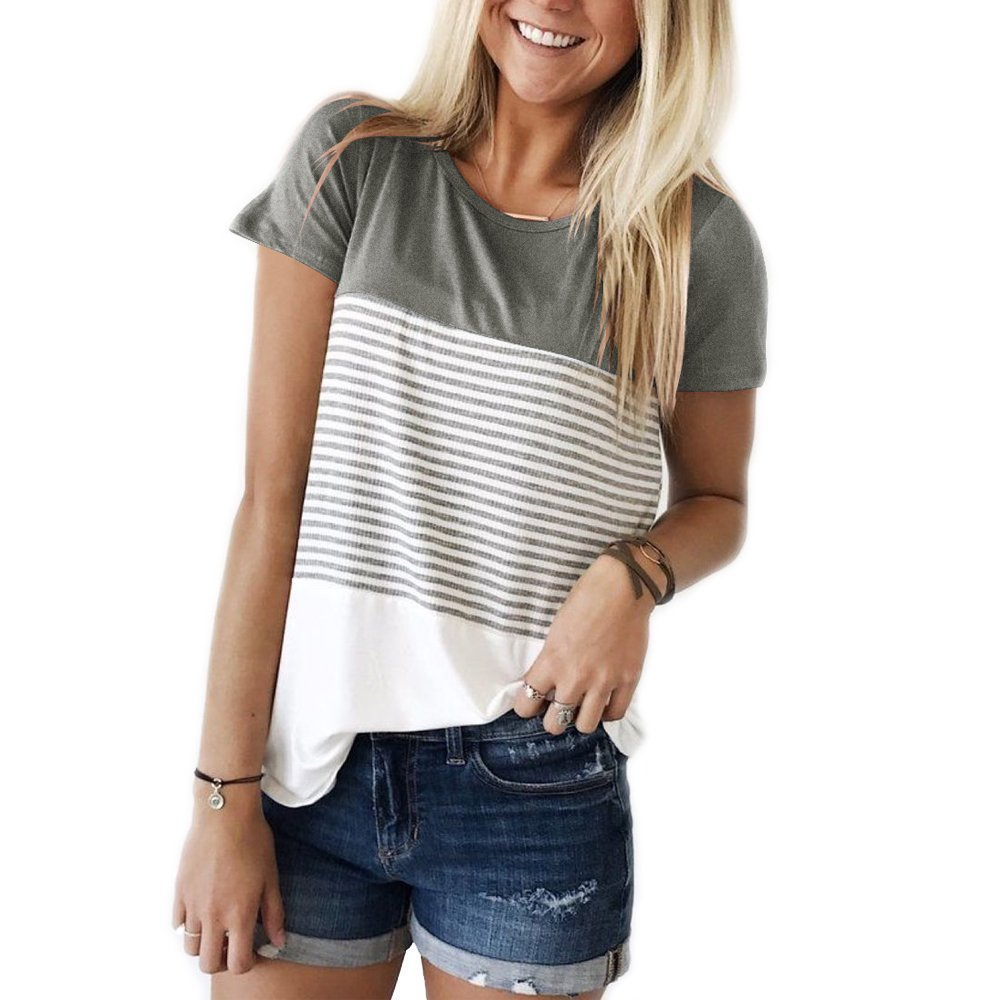 FOMANSH Women's Tops Short Sleeve Round Neck Striped Color Block T-Shirts Casual Blouse(Grey,Small)