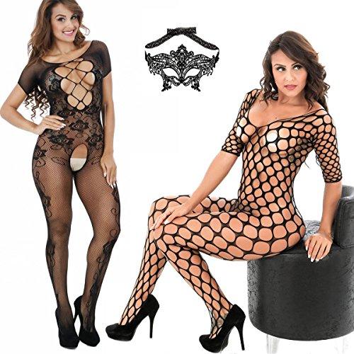 Plus Body - LOVELYBOBO 3-Pack Womens Fishnet Lingerie Full Bodystocking Plus Size Bodysuits Lace Eye Mask Suspender Black