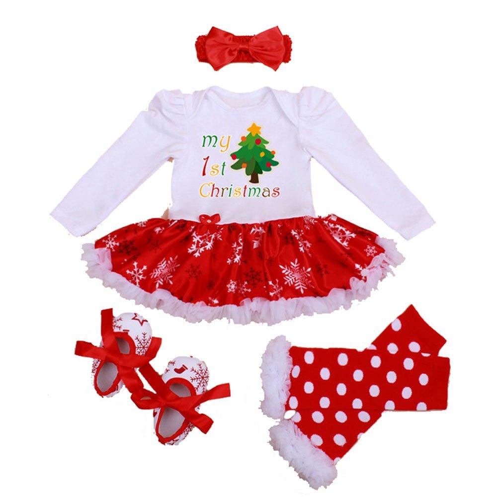 Winmany Newborn Baby Girls Christmas Romper Tutu Dress Outfit Headband Leg Warmer Shoes
