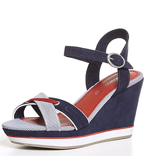 8cb4d531a191 MARCO TOZZI - Womens Nautical Blue Striped Faux Suede Strappy Open Toe High  Heel Wedge Sandals