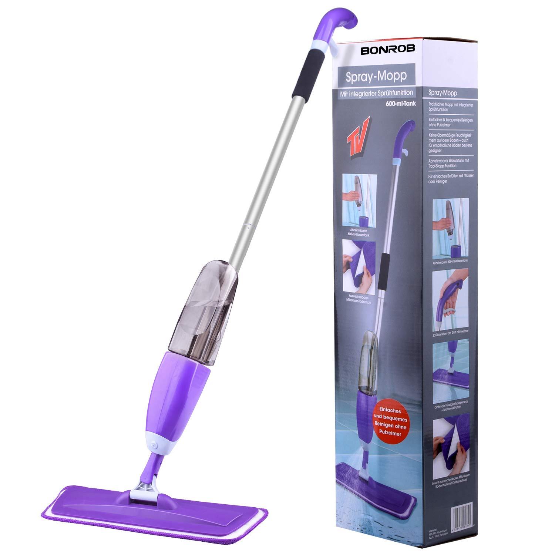 Hardwood Floor Mop Microfiber Spray Mop with Refillable Bottle and 2 Pcs Reusable Microfiber Pads (Purple) by BONROB (Image #7)