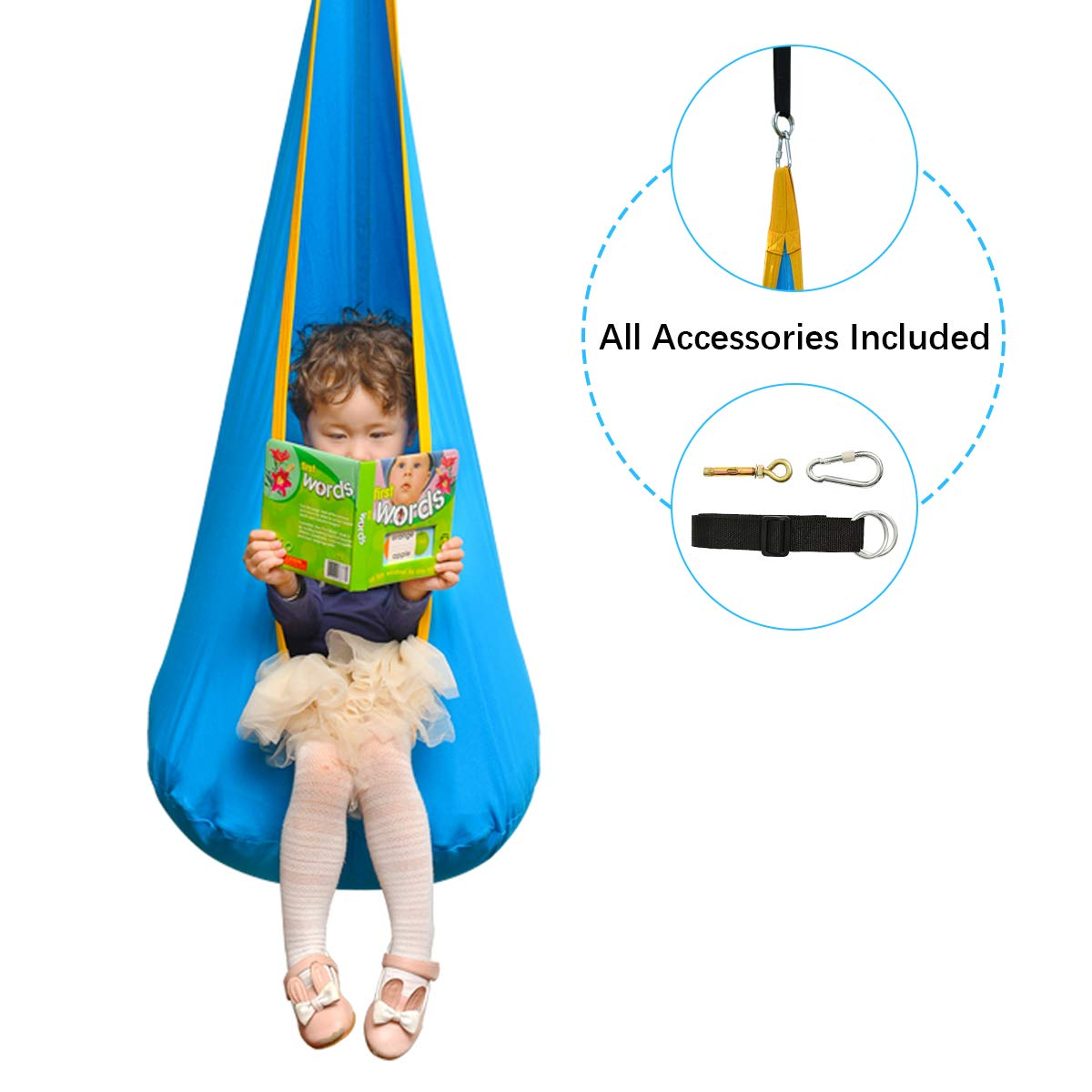Cchainway Folding Hanging Pod Swing Seat Child Swing Chair Indoor and Outdoor Hammock Chair for Kids, 100 Cotton Hardware Accessories Included Blue
