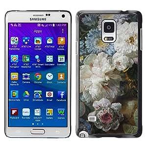 """Pulsar Snap-on Series Teléfono Carcasa Funda Case Caso para Samsung Galaxy Note 4 , Flores Azul Blanco Día de la Madre"""""""