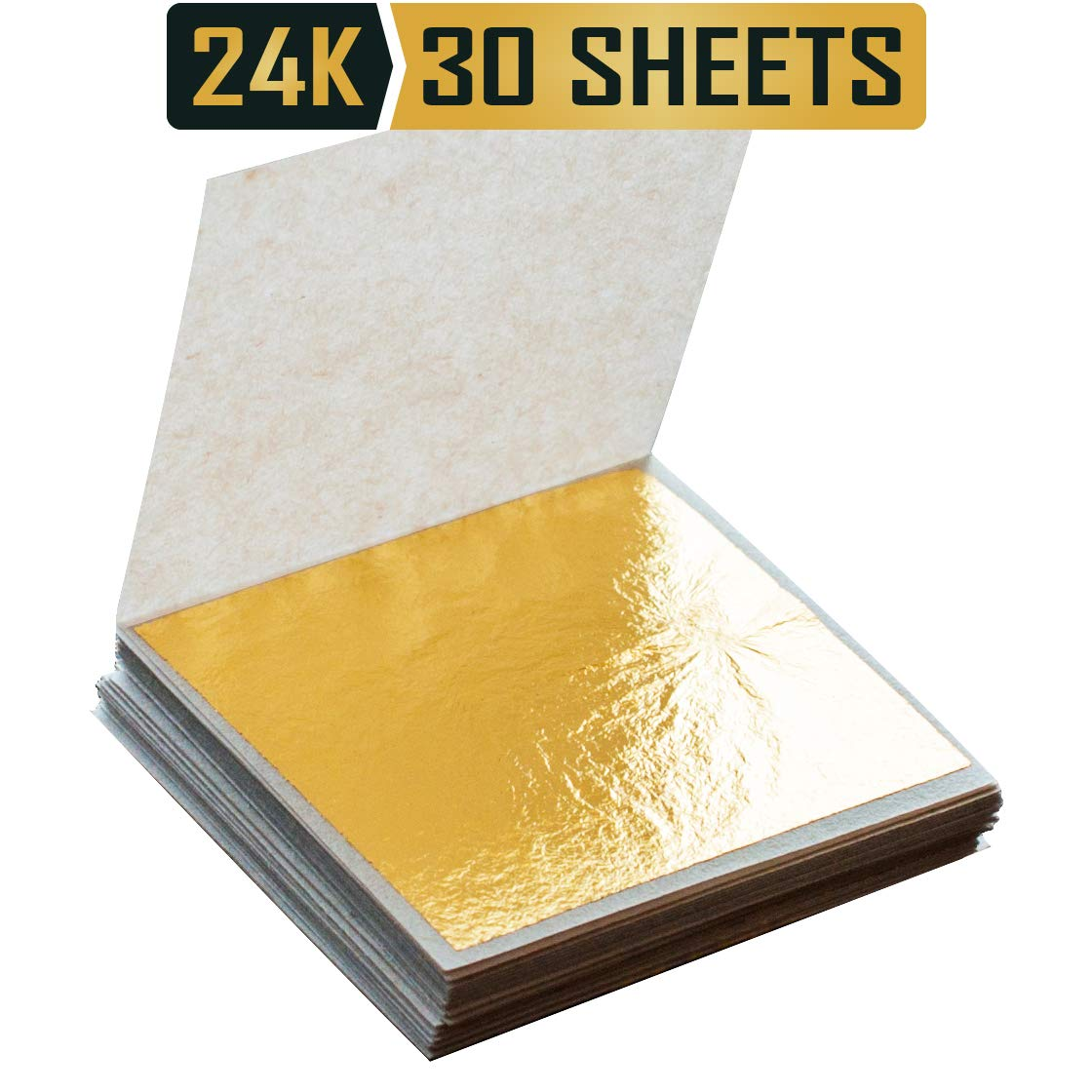 Premium Golden Yellow Edible 24k Gold Leaf Sheets 1.5''x1.5'' Made of 99.99% Real Gold Used in Beauty Routine and Makeup, Bakery and Pastry eg. Cake, Art Decoration for Art and Craft Work or Accessories