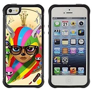 Hybrid Anti-Shock Defend Case for Apple iPhone 5 5S / Colorful Cute