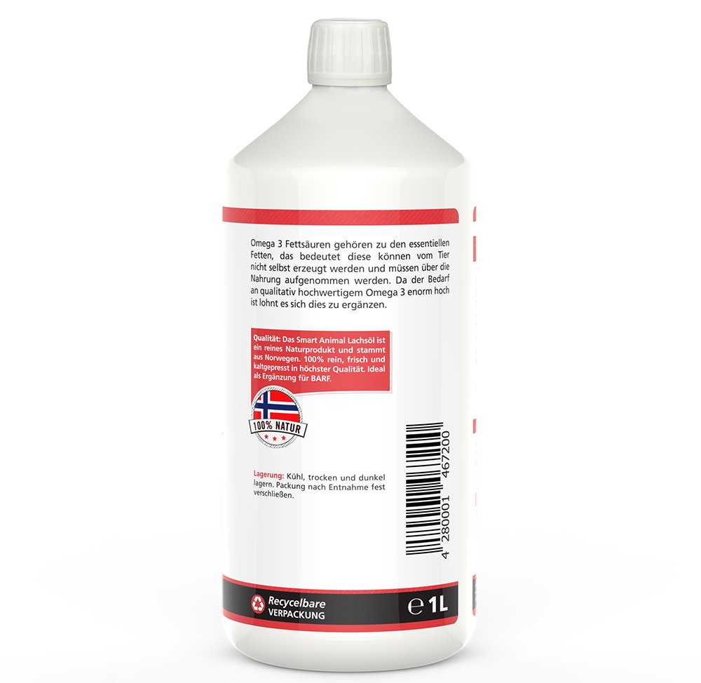 Smart Animal Omega 3-Lachsöl 1 Liter Hochwertiges Reines ...