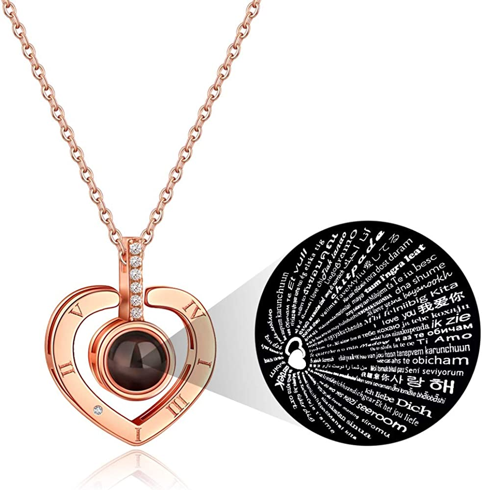 I Love You Necklace 100 Languages Custom Heart Name Necklace Projection Necklace Sterling Silver Rose Gold Personalized Love Pendant