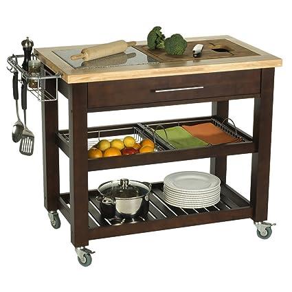 Merveilleux Chris U0026 Chris JETRICH CANADA Rectangular Pro Chef Kitchen Cart With Granite  Top, 23 By