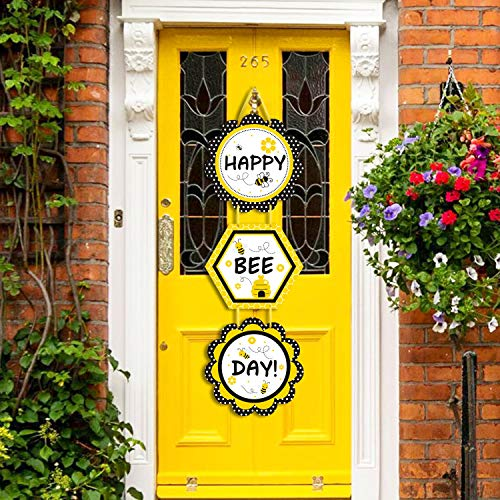 Faisichocalato DIY Bumble Bee Birthday Door Signs, Happy Bee Day and Birthday Party Porch Wall Hanging Decorations