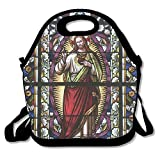 Kooiico Sacred Heart Of Jesus Catholic Gifts Believe Art Christian Wall Decor Church Cathedral Window View Unique Lunch Tote Lunch Bag Outdoor Picnic Reusable