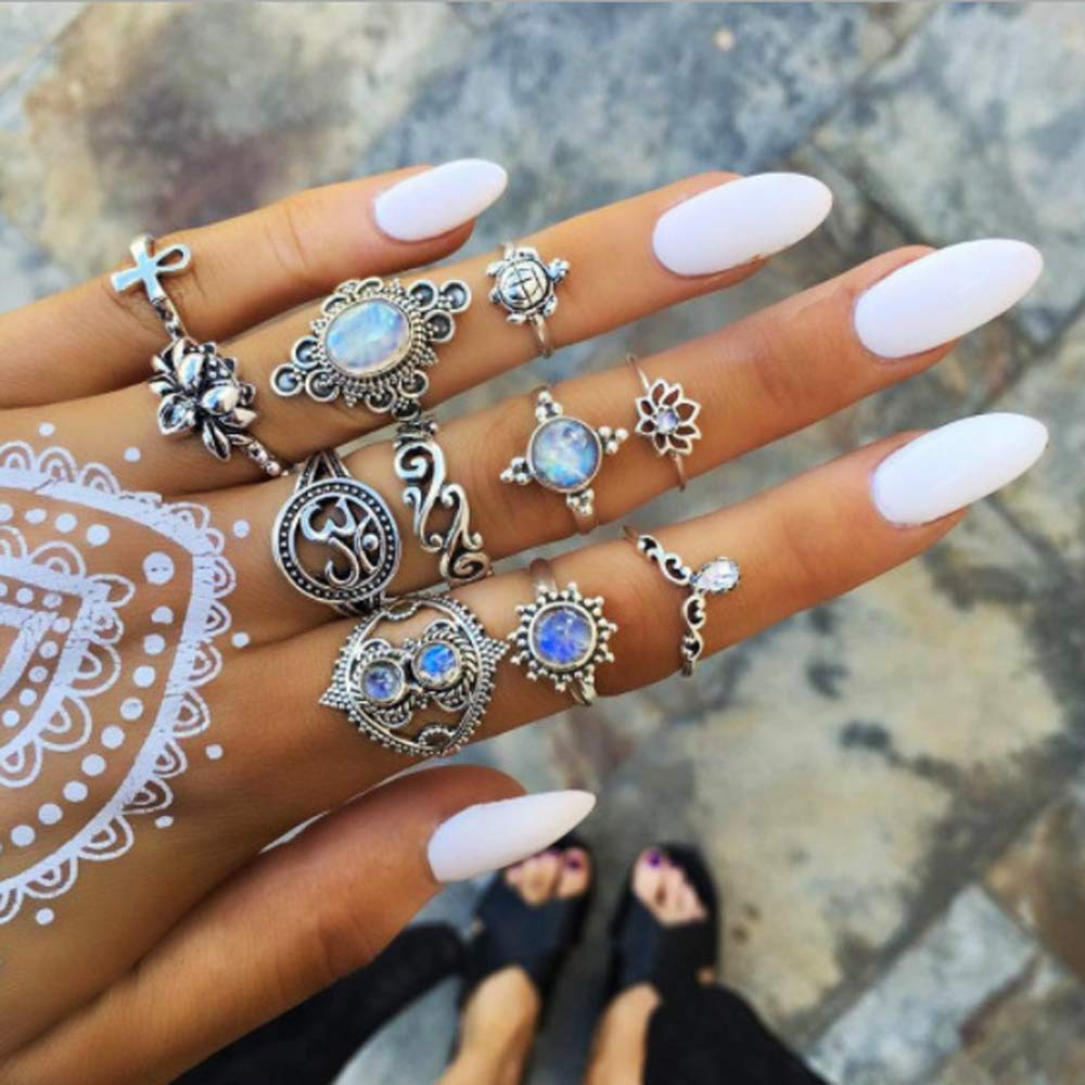 9 Piece Bohemian Statement Vintage Queen Ring Set Crystal Teardrop Purple Gem StoneBoho Knuckle Joint Ring Set For Teen Girls and Women