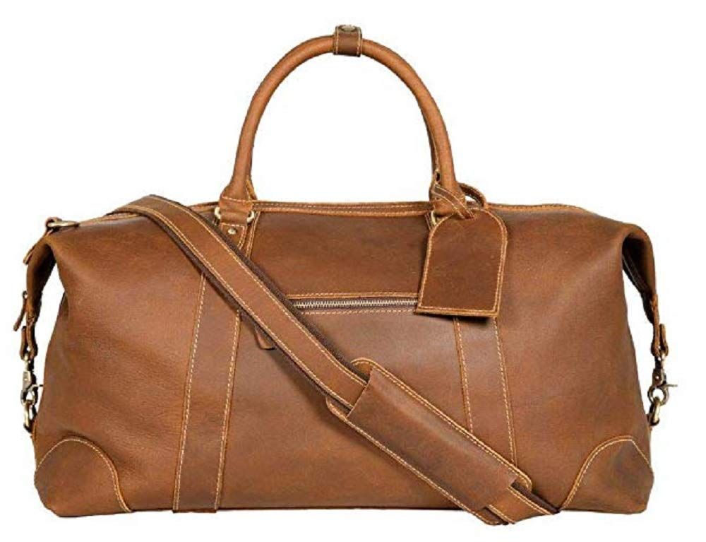 Viosi Vintage Expandable Duffel Bag Leather Weekender Luggage Travel Bag [21'' Hunter]