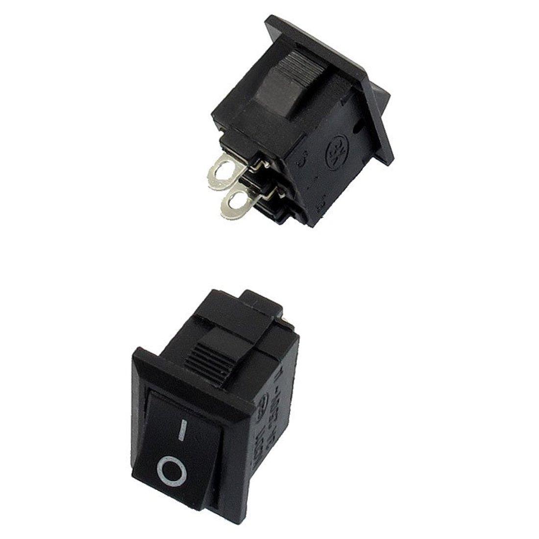 SODIAL(R) 10 Pcs SPST Mini Noir 2 broches interrupteur a bascule AC 125V 10A 250V 6A