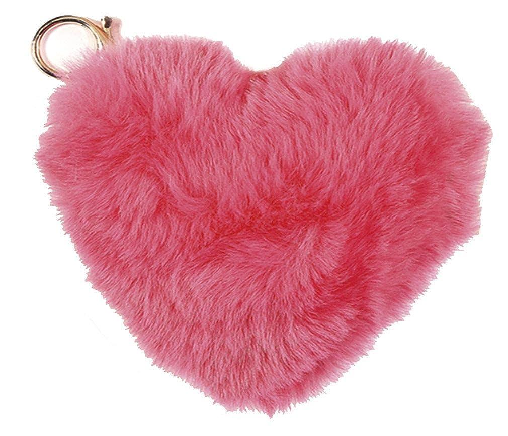 iscream Heart Shaped Furry Pom-Pom Decorative Purse and Backpack Clip Keychain Charm