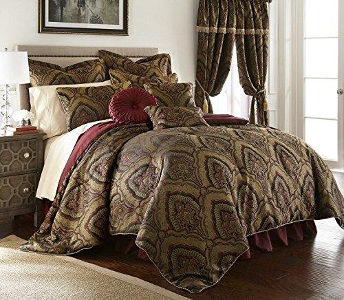 Zleep Bed 9pcs Oversized Jacquard Green Gold Maroon Medallion Comforter Set Queen - Green Maroon