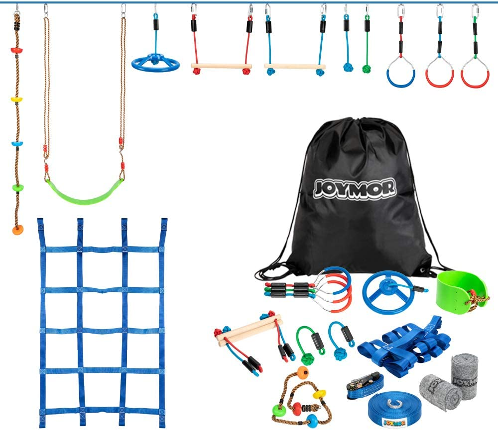 JOYMOR Upgraded Ninja Obstacle Course for Kids, 59 Feet Ninja Slack Line with 11 Obstacles,Including 1 Climbing Rope, 1 Climbing Net, 1 Swing Seat, 1 Wheel, 2 Rope Knots, 2 Monkey Bars, and 3 Gymnasti