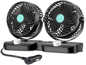 HITOPTY 12V Electric Car Fan, Dual Head 360 Degree Swivel 2 Switches 2 Speeds Dashboard Air Fan with Cigarette Lighter for Auto Vehicles SUV RV Boat