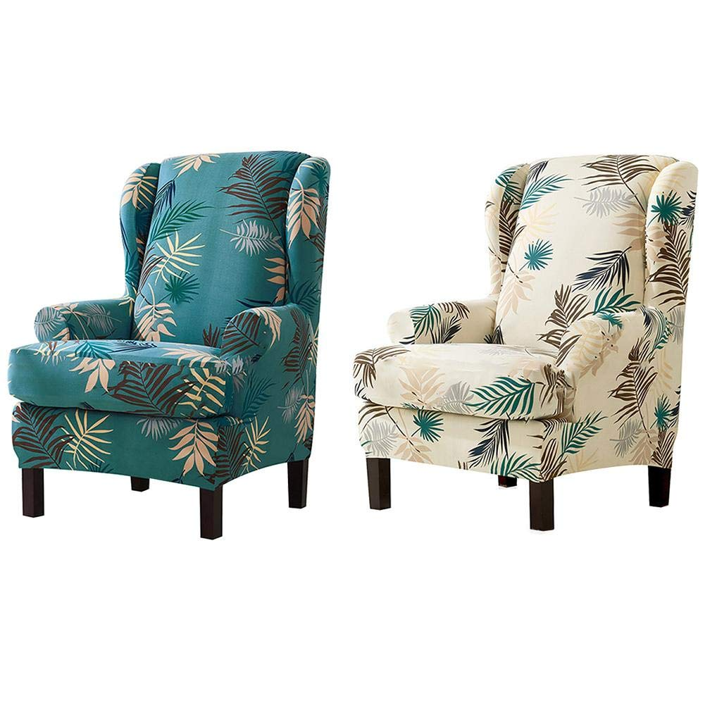 Baiancy 2 Pieces Wing Chair Slipcover Wingback Cover Printed Armchair Stretch Chair Cover Base Cover Saddle Cover