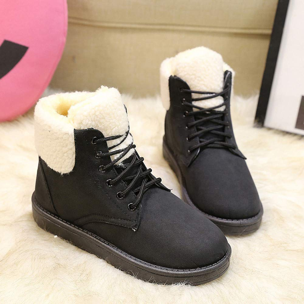 Amazon.com: Goddessvan Snow Boot Women Winter Plush Insole Boots Classic Lace-Up Ankle Booties: Clothing