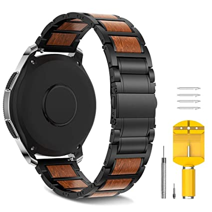 Notocity 22mm Band Compatible with Samsung Gear S3 Watchbands Stainless Steel Wood Strap Replacement for Samsung Gear S3/Galaxy Watch 46mm Smartwatch. ...