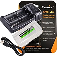 Fenix ARE-X2 battery charger with EdisonBright Battery carry case bundle