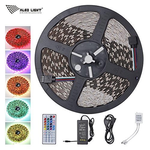 ALED LIGHT 5050 10M 600Leds RGB 60leds/m SMD Non-Waterproof Color Changing Led Strips Light Kit +44 key IR Remote+24V/3.5A AC Power Supply for Home lighting and Kitchen Decorative