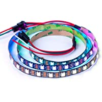 BTF-LIGHTING WS2812B ECO RGB Alloy Wires 5050SMD Individual Addressable 3.3FT 60(2x30) Pixels/m Flexible Black PCB Full…