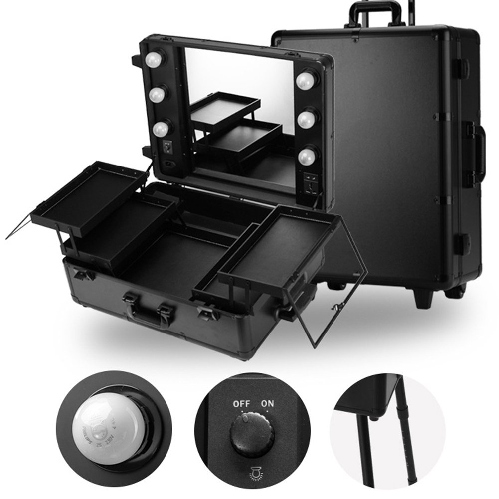 Gracefulvara Multi-function Draw-Bar Box Makeup Cosmetic Train Case with Light, Mirror and Stand