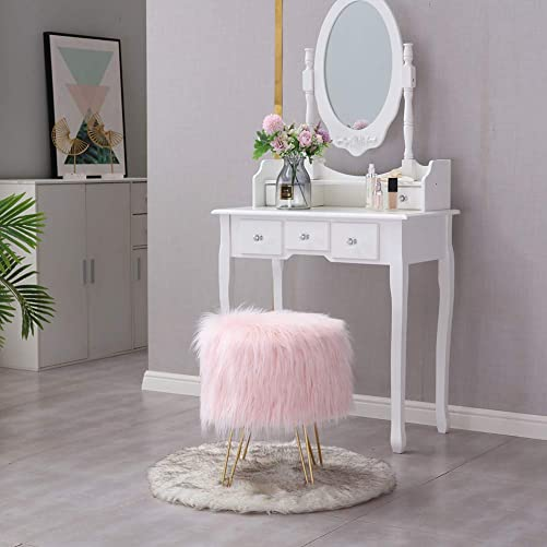 Mxfurhawa Pink Modern Faux Fur Vanity Stool Ottoman