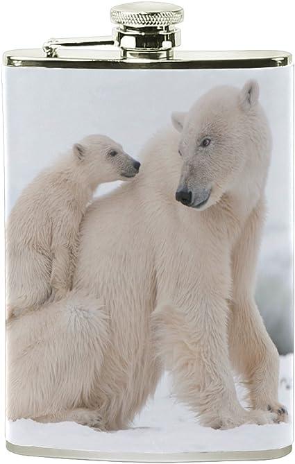ALAZA Padre y niño oso polar petaca 8 oz A prueba de fugas ...