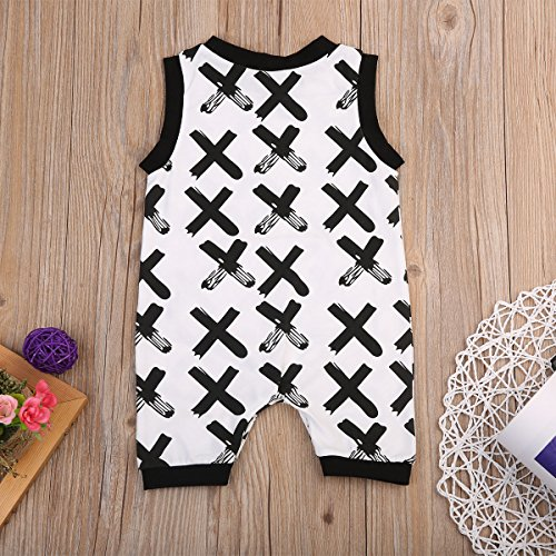 Newborn Baby Boy Girl Cross Printed Romper Sleeveless Playsuit Jumpsuit Playsuit Outfits