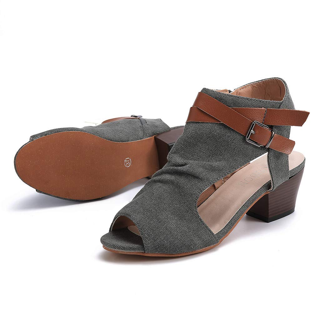 BEAUTYVAN Womens Crisscross Strappy Buckle Cutout Stacked Low Wedge Sandal