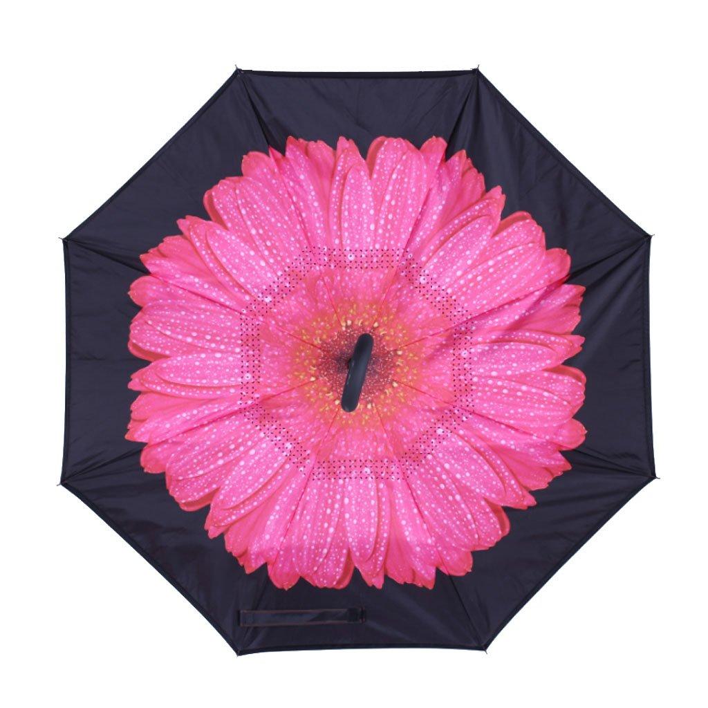 Yubusiness Parapluie Double C-Poign/ée Pliant Invers/é Invers/é Coupe-Vent,Ciel Bleu Et Nuages Blancs 14