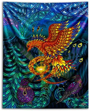 Third Eye Tapestries Phoenix Wall Tapestry by Phil Lewis – Wildlife Art Tapestry – Hanging Modern Art Tapestry 60 by 75