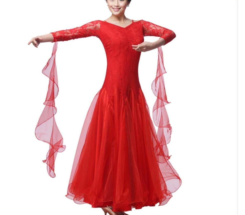 Rouge Robe De Danse Moderne,Femmes Professional Perforhommece Compétition Robes Modernes Valse Danse Costumes Standard Robe Nationale Cha Jupes Jupe De Salle De Bal XXXL