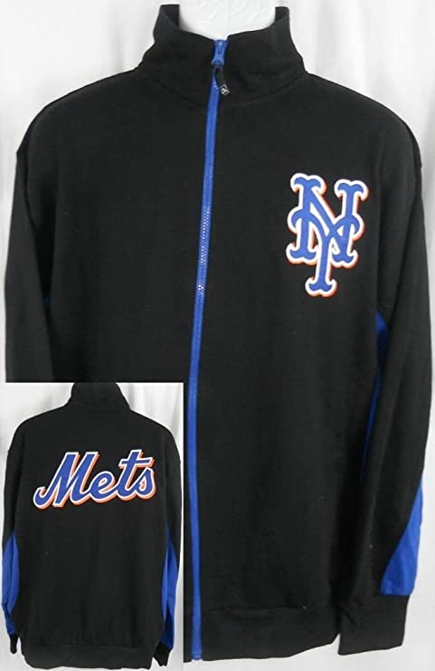best cheap 6dca8 37277 Majestic York Mets MLB Licensed Embroidered Track Jacket Black Tall Sizes