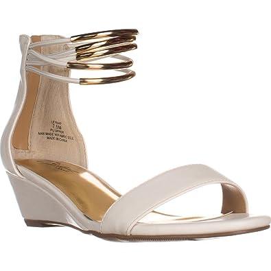 TS35 Leyna AnkleCuff Wedge Dress Sandals White White Size 60
