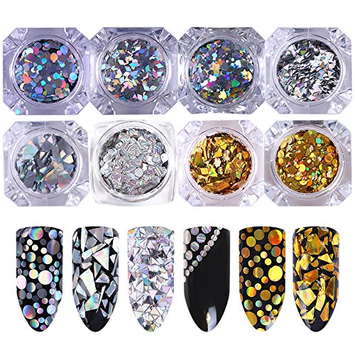 Round Nail Art (NICOLE DIARY 8 Boxes Holographic Iridescent Flakies Nail Sequins Gold Silver Glitter Paillette Triangle Heart Star Rhombus Round Patterns Holo Flakies Manicure Nail Art Decoration)