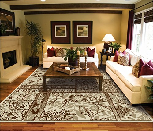 Luxtury Leaf And Flower Cream Beige Brown Rugs Living Room Size 5x8 Modern Rug For Bedroom 5x7 Dining
