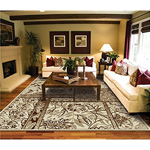 Luxtury Leaf And Flower Cream Beige Brown Rugs Living Room Size 5x8 Modern  Rug For Bedroom 5x7 Rugs For Dining Room