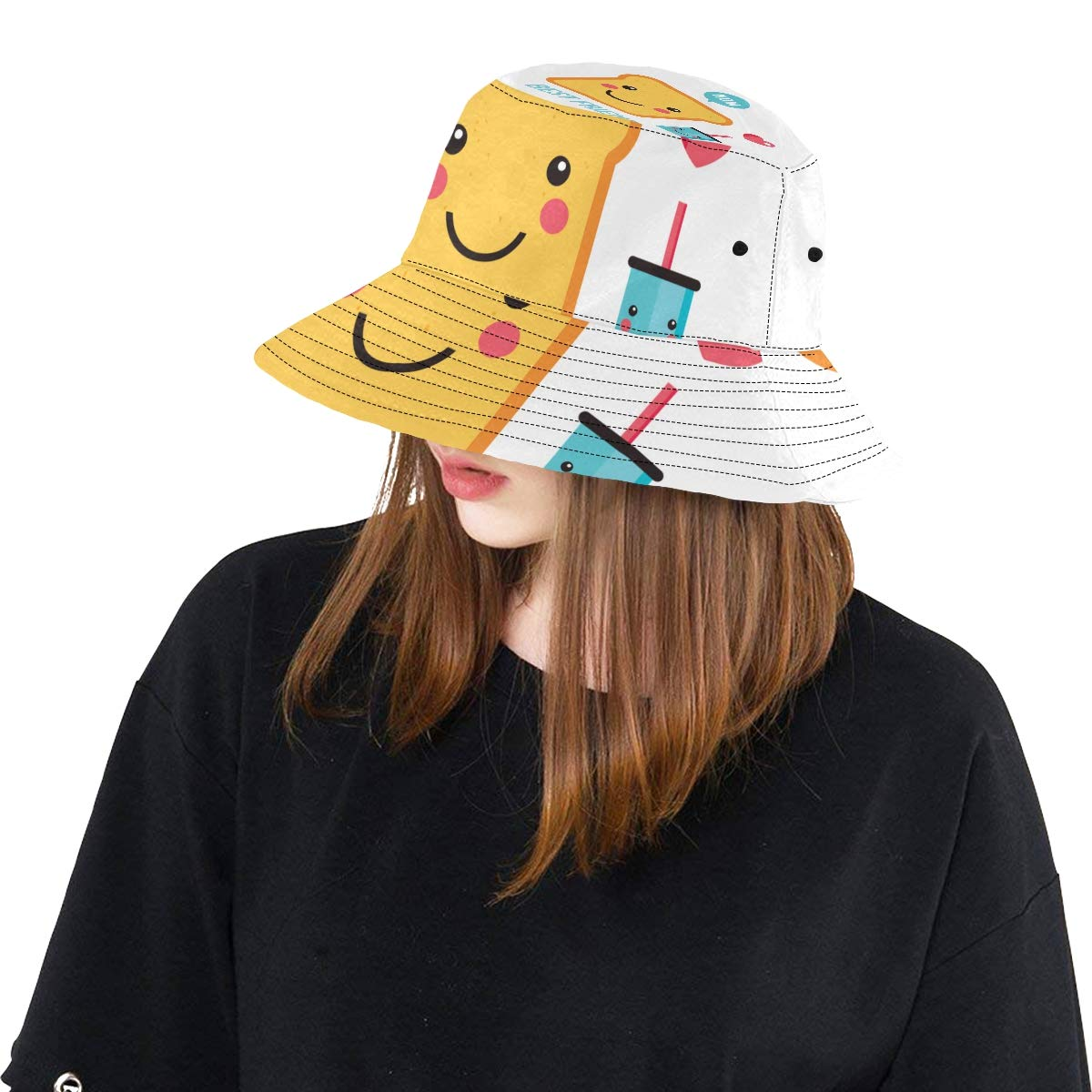 Toast Bread Cute Cartoon Breakfast New Summer Unisex Cotton Fashion Fishing Sun Bucket Hats for Kid Teens Women and Men with Customize Top Packable Fisherman Cap for Outdoor Travel