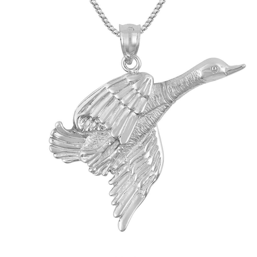 18 Italian Box Chain Made in USA Sterling Silver Swan Bird Pendant